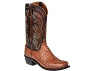 Lucchese Mens Tan Burnished Caiman Tail Crocodile Cowboy Boots M2691