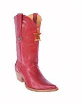 Red Ostrich Leg Ladies Cowgirl Western Boot 350512