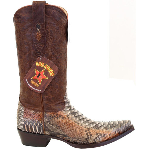 Men's Los Altos Python Snip Toe Boots Genuine Snakeskin Handcrafted 945788 Color: Rustic Cognac