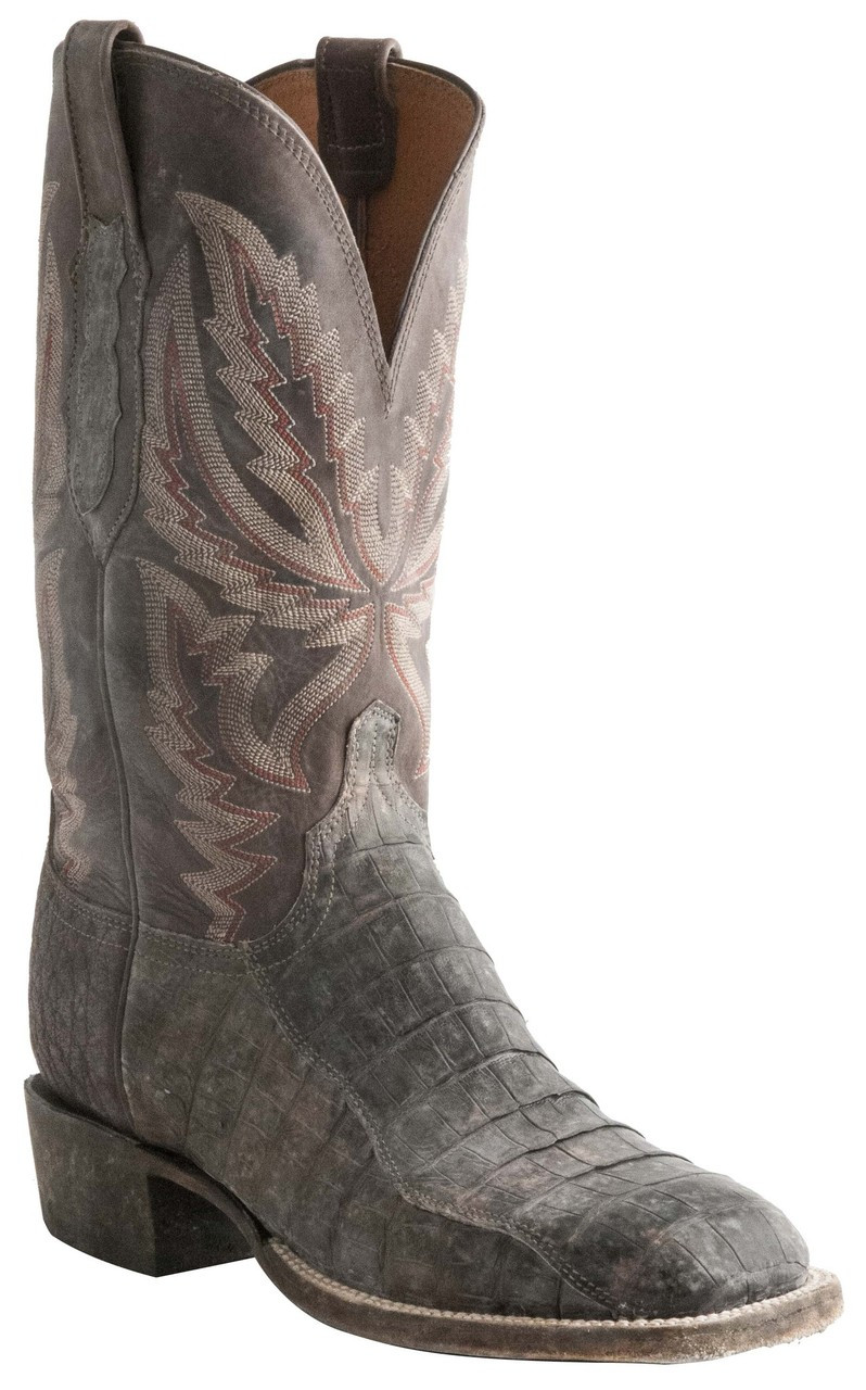 3978cff18d0 Lucchese Heritage Mens Stonewash Timber Belize Caiman Belly Tail Cut  Leather Boots CL7958 C7958