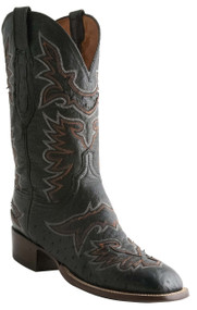 Lucchese Heritage Mens Black Boots Smooth Ostrich With Saddle Inlay C7964 CL7964