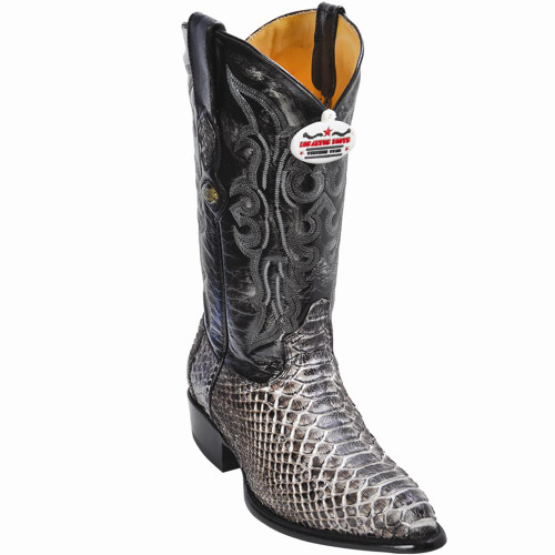 Exotic Python Western Cowboy Boots,J-Toe Color: Rustic Black 995781 Los Altos