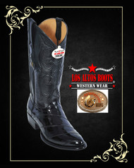 Eel Skin Mens Cowboy Boots Black Los Altos 600805