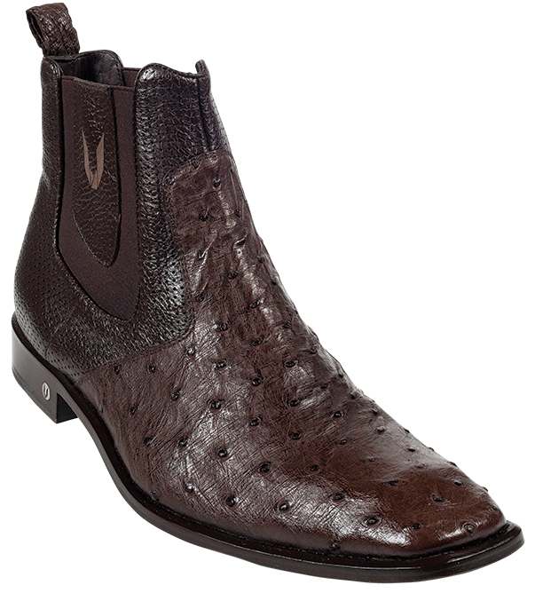 dbcd0d8d0bc Vestigium Brown Full Quill Ostrich Dressy Short Ankle Mens Boot