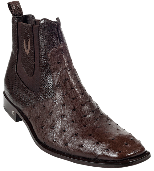 Vestigium Brown Full Quill Ostrich Dressy Short Ankle Mens