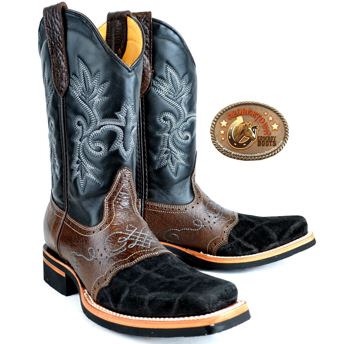 af890673b7f Mens King Exotic Elephant Boots Square Toe With Saddle Vamp