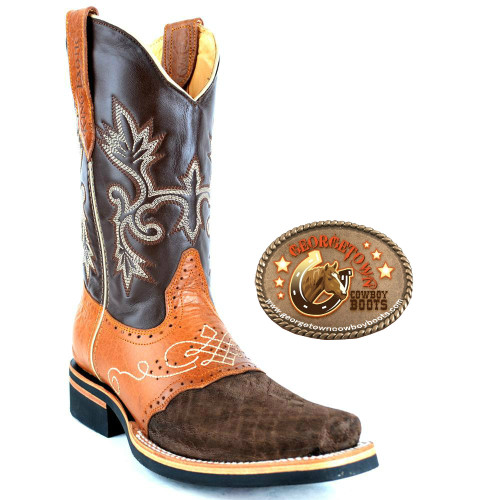 Brown/Tan Elephant Skin King Exotic Boots