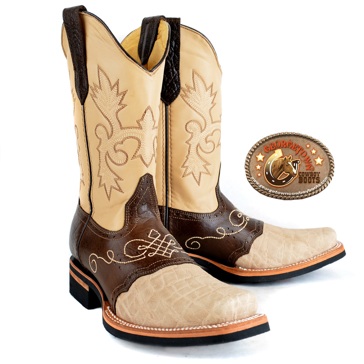 0015e653dd1 King Exotic Elephant Boots Square Toe With Saddle Vamp Oryx/Brown