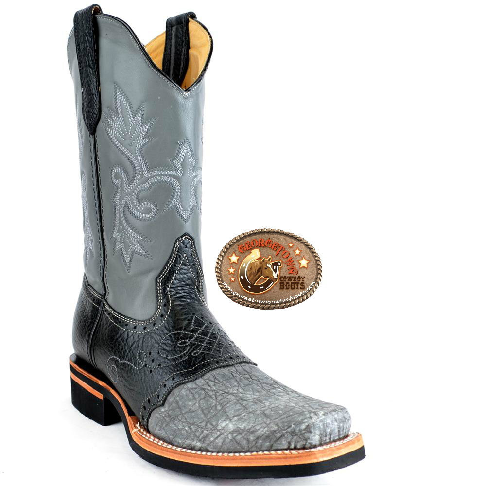 9b7dfef309e King Exotic Gray Elephant Mens Boots Square Toe With Saddle Vamp