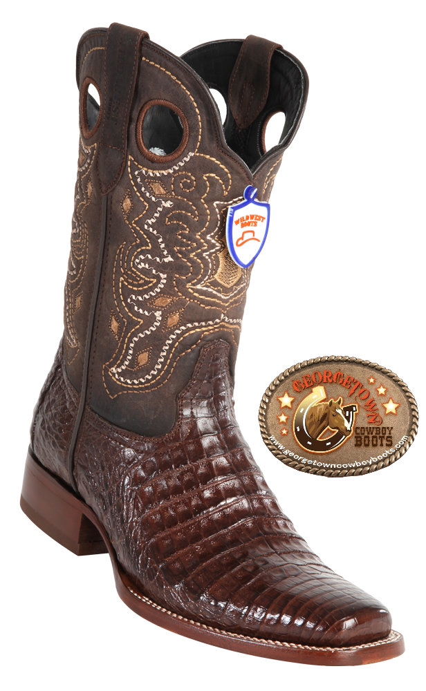 6c0e8dc27f5 Wild West Boots Mens Full Vamp Caiman Belly Square-Toe Western Boots Brown