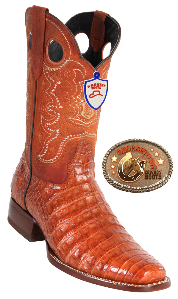 9755e5207af0be Wild West Boots Mens Caiman Belly Square-Toe Cowboy Western Boots ...