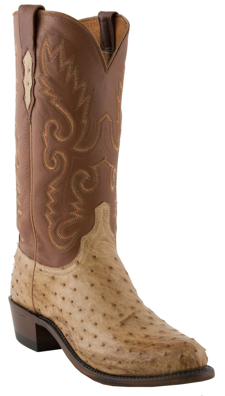e4c8ca43b9d Lucchese Heritage Mens Tan Full Quill Ostrich Leather Boot N1061