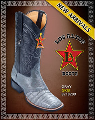 Caiman Belly Gray Cowboy Western Boots Rodeo Style with Saddle, Los Altos Boots- Gray 8218209