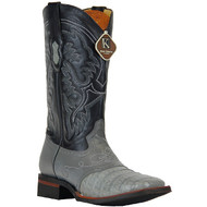 Caiman Grey Square Toe Western Boots King Exotic