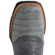 Caiman Belly Gray Cowboy Western Boots Rodeo Style with Saddle Vamp Square Toe King Exotic- Gray 8238209