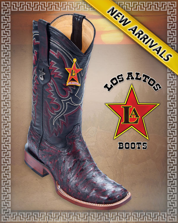 54b88641159 Los Altos Boots Mens Full Quill Ostrich Western Boots Square Toe Black  Cherry