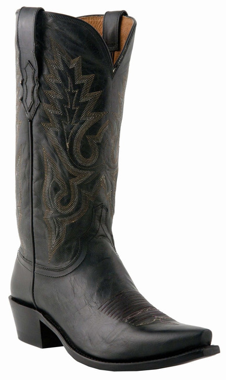"""Lucchese Since 1883 Mens Western with """"Gill"""" Stitch Design Black Burnished Madras Goat M1007"""
