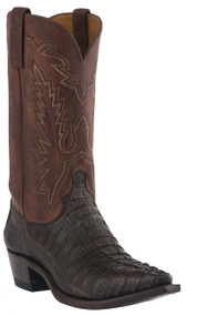 Mens Lucchese Since 1883 Western Barrel Brown Waxy Hornback Caiman Tail/Tan Burnished Jersey Calf Boots M2500
