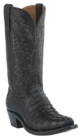 Mens Lucchese Since 1883 Western Black Waxy Hornback Caiman Tail/Black Jersey Calf M2501