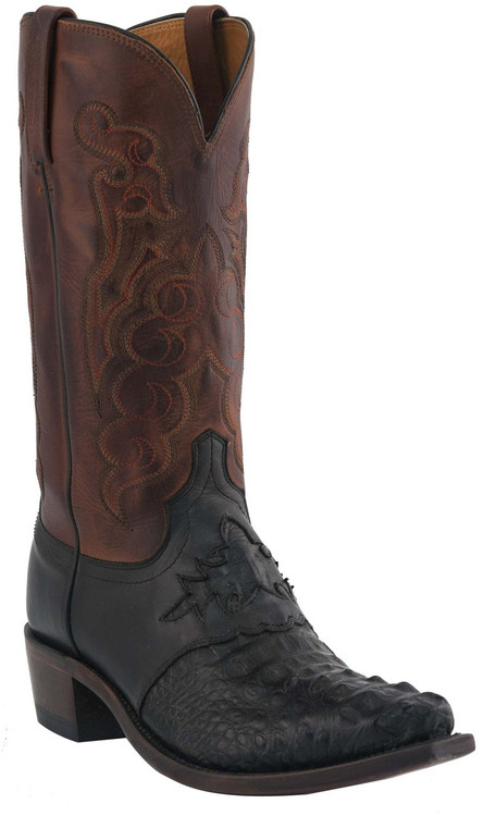 Mens Lucchese Since 1883 Western Black Waxy Hornback Caiman Headcut Saddle/Tan Burnished Jersey Calf M2537