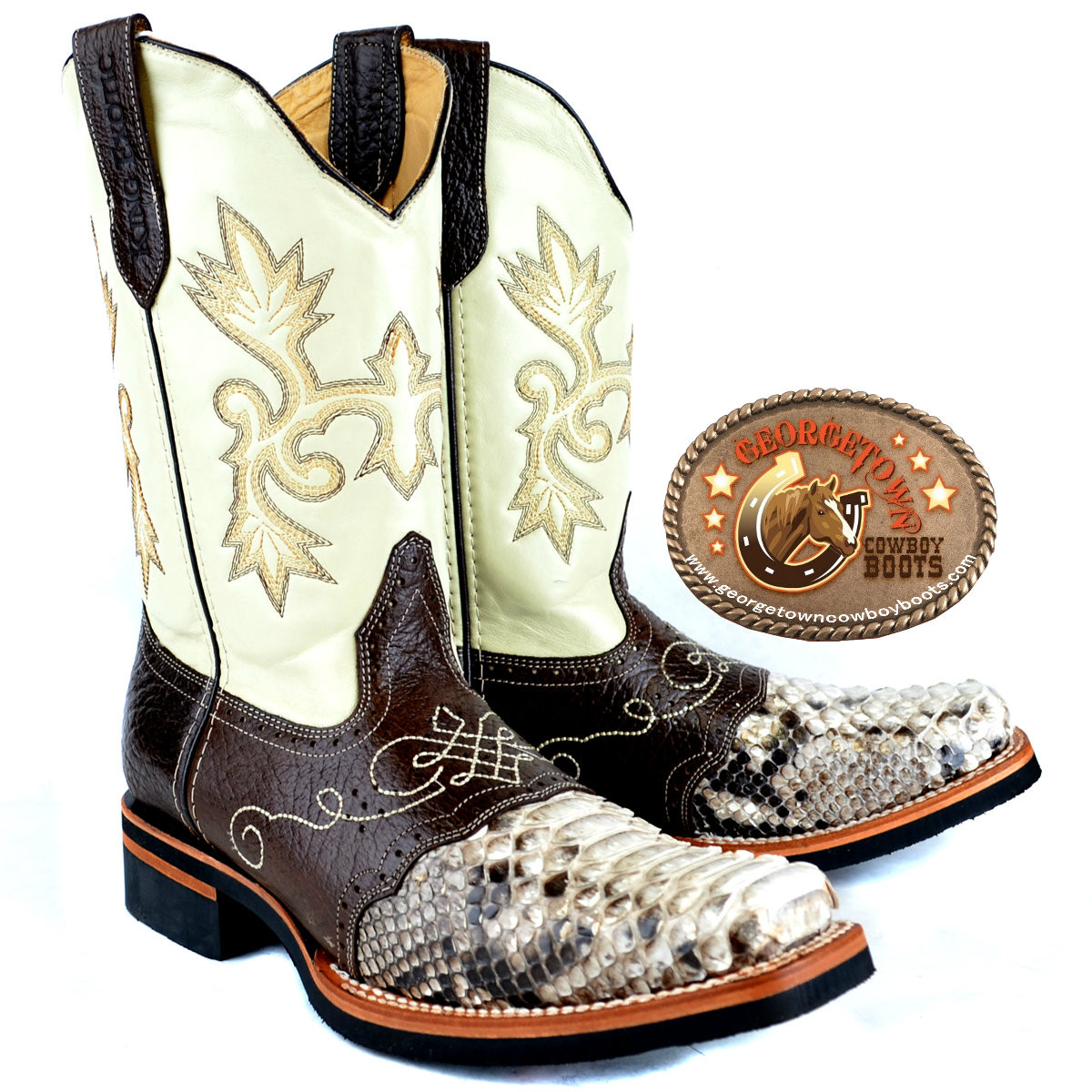 ace082cf29d King Exotic Rodeo Python Boots Square Toe With Saddle Vamp Natural