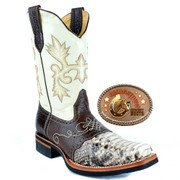 Mens Square Toe Natural Python Boots