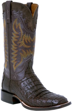 LUCCHESE SINCE 1883 MENS DARK BROWN HORNBACK CAIMAN COWBOY BOOTS M4549