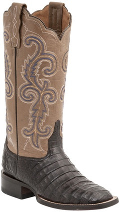 Lucchese Since 1883 Womens Brown Caiman Embroidered Leather Shaft Cowgirl Boots  Lucchese Style M4942