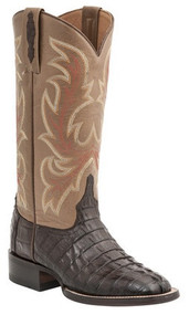 Lucchese Since 1883 Womens Brown Hornback Caiman Tail Embroidered Leather Shaft Cowgirl Boots  Lucchese Style M4946