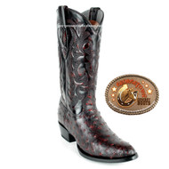 Los Altos Boots Full Quill Ostrich Black Cherry Boots 650318
