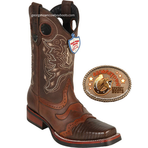 Wild West Rodeo square-Toe Lizard Boots Brown 281TH0707