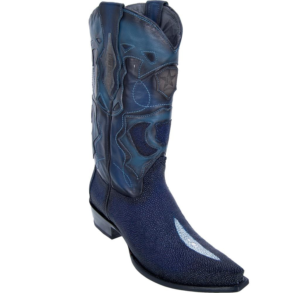 promotion bright n colour brand new Los Altos Boots Snip Toe Stingray Mens Cowboy Boots Single Stone Navy Blue