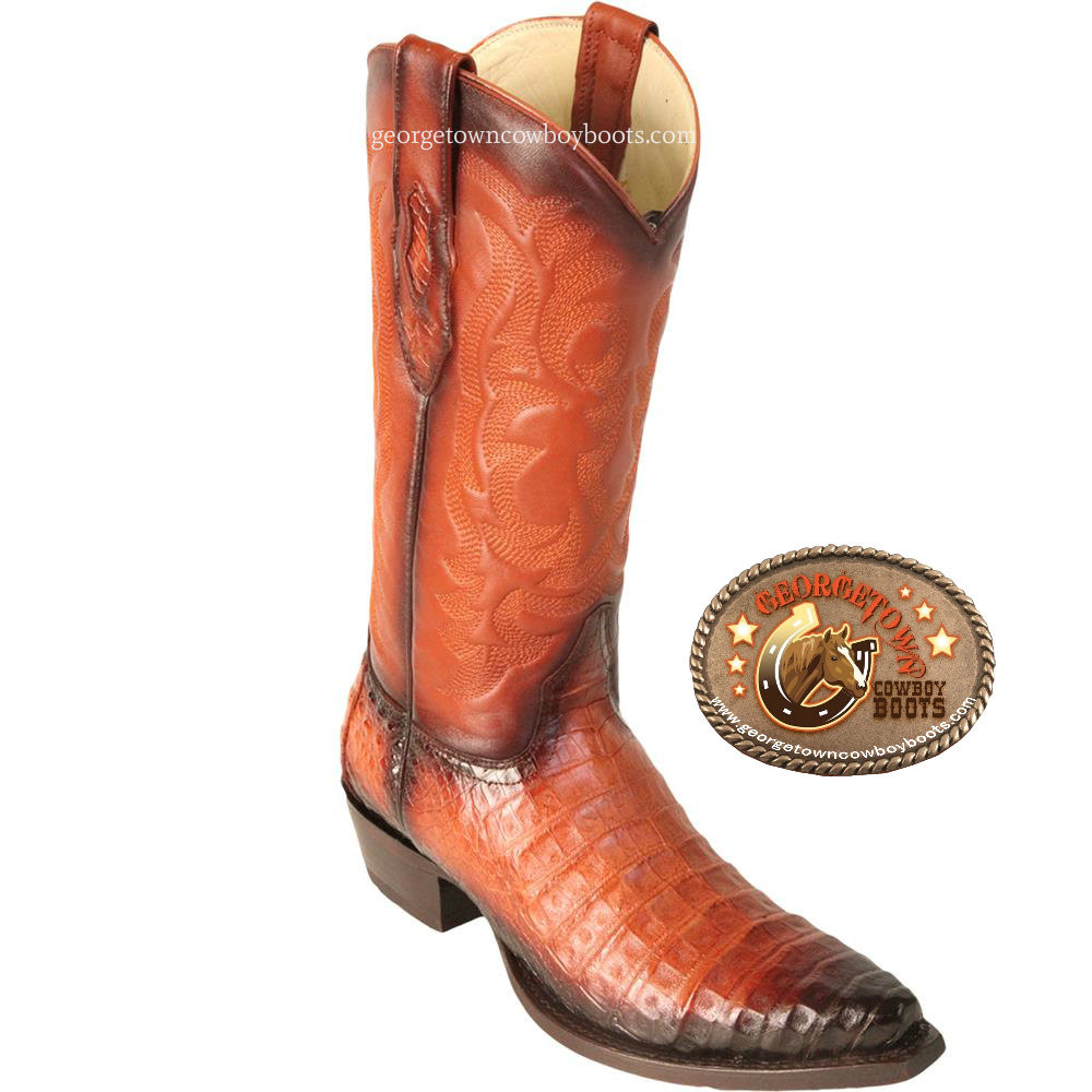 ce2ad382fb6 Los Altos Men's Snip Toe Caiman Belly Handcrafted Mens Boots Faded Cognac