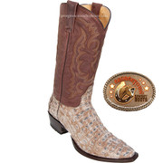 Los Altos Mens Natural Caiman Snip toe Cowboy Boots 941732