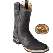 Mens Elephant Skin Square Toe Rodeo Boots with Saddle Vamp by Los Altos Boots 8167005
