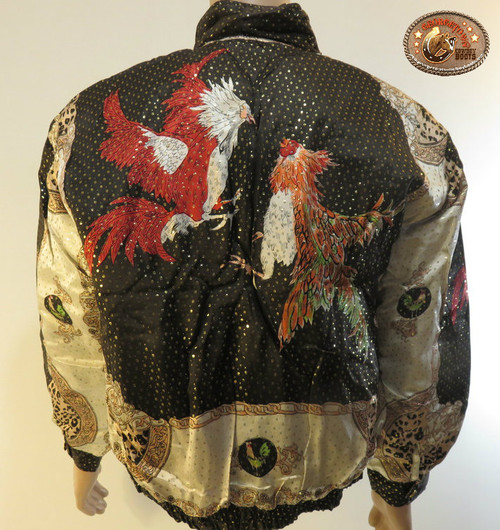 Fighting Rooster Gallos Silk Bomber Jacket