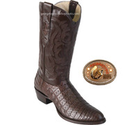 Los Altos Mens Round Toe Caiman Belly Cowboy Boots Brown 658207