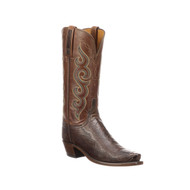 Lucchese Womens Boots Ostrich Chocolate + Tan Style N4058