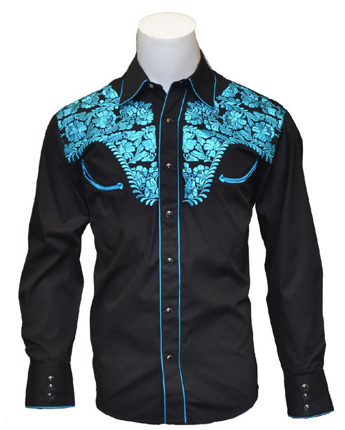 Mens Tooled Black Western Fashion Shirts with Blue Embroidery