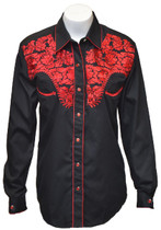 Womens Tooled Black Western Fashion Shirt  with Red Embroidery Style 915