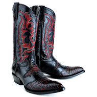 King Exotic Black Cherry Caiman Belly Saddle Vamp J-Toe 9828218