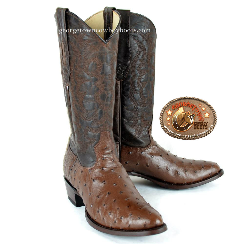 1bf2ebc08df Los Altos Mens Full Quill Ostrich Round Toe Western Boots Brown 650307