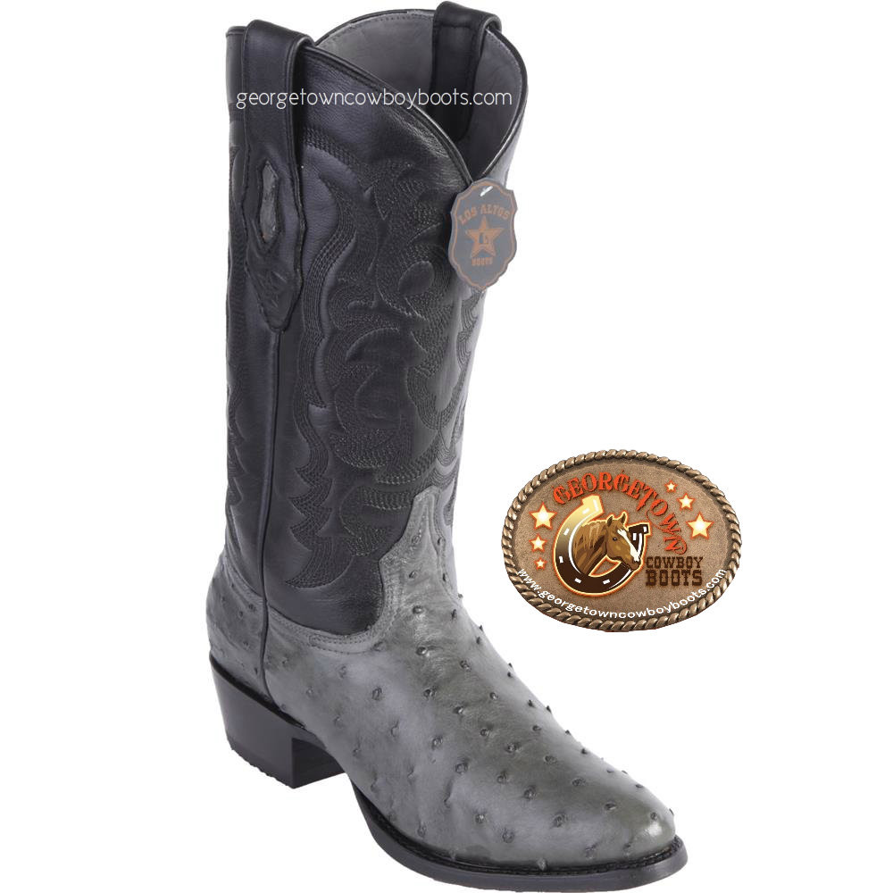 c86b0c9b0c5 Mens Los Altos Gray Full Quill Ostrich Round Toe Western Boots 650309