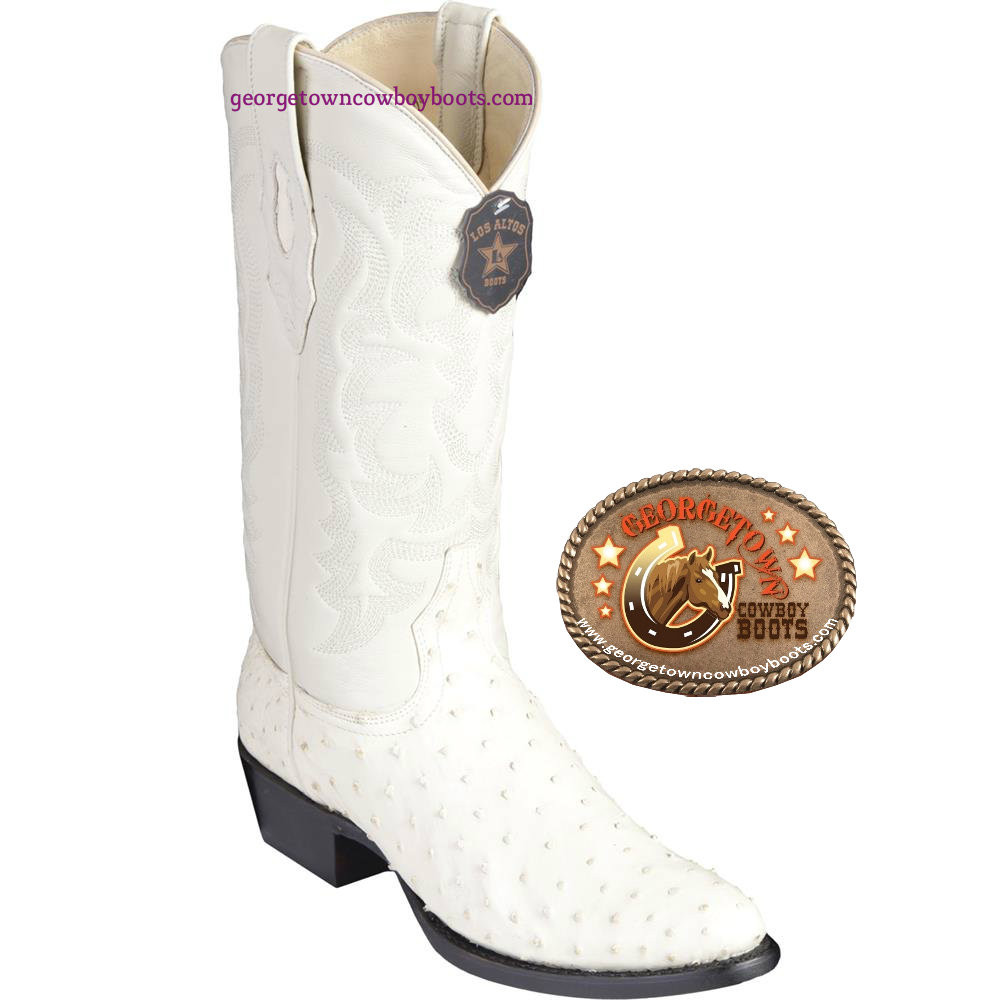 fc2fe884676 Mens Los Altos Winter-white Full Quill Ostrich Round Toe Western Boots  650304