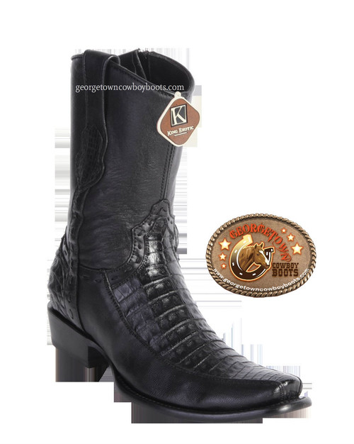 King Exotic Mens Genuine Caiman and Deer Leather Boots H79 Dubai Toe 479BF8205 - Black Color