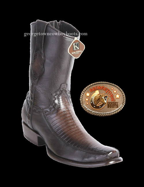 King Exotic Mens Genuine Teju Lizard and Deer Leather Boots H79 Dubai Toe 479BF0716 Burnished Brown Color