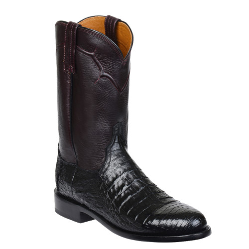 M0701 Lucchese Mens Black Caiman Roper Boots