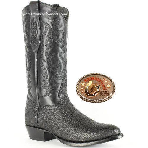 Los Altos Shark Round Toe Western Boots Black 650905 D