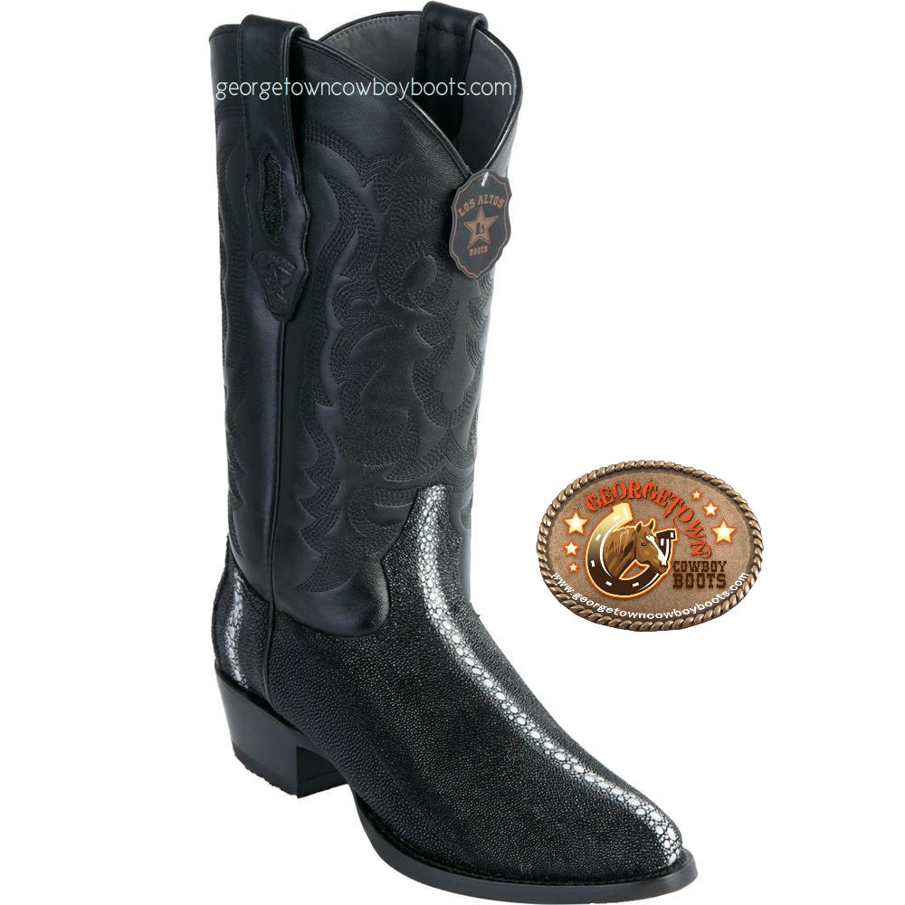 2cd859137b7 Men's Los Altos Stingray Boots Full Rowstone Round Toe Western Handcrafted  Black 651105 D & EE Width