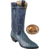 Mens Los Altos Boots Genuine Full Quill Ostrich J-Toe Blue Jeans Western Handmade Boots 990314